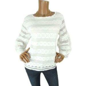 MAX STUDIO XL BOHO Shirt Embroidery Peasant Sleeve